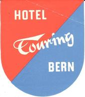 ETIQUETA DE HOTEL  - HOTEL TOURING  -BERN -SUIZA - Hotel Labels