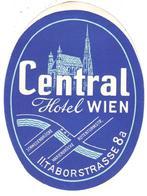 ETIQUETA DE HOTEL  - CENTRAL HOTEL WIEN  -TABORSTRASSE  -WIEN - Etiquetas De Hotel