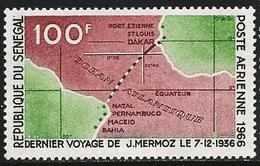 Senegal 1966 Scott 50 MNH Air Mail Mermoz Flight Dakar Brazil, Map - Sénégal (1960-...)