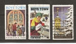 USA - Boys Town, Bethlehem Pa - Petit Lot De 3 Vignettes - Erinnophilie