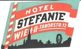 ETIQUETA DE HOTEL  - HOTEL STEFANIE  TABORSTR.12  -WIEN - Etiquetas De Hotel