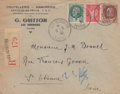 LETTRE. COVER. FRANCE. 1943. PETAIN REGISTERED. COUTELLERIE ARMURERIE G.GUITTON LES HERBIERS VENDEE TO ST ETIENNE   /  4 - Ohne Zuordnung