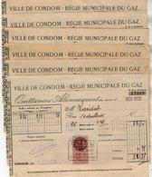 VP14.107 - 1936 / 37 / 38 - Lot De 10 Quittances Avec Timbres Fiscaux -  Ville De CONDOM - Régie Municipale Du Gaz - Electricity & Gas
