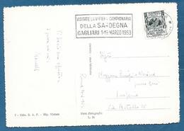 1953 ANNULLO MECCANICO VISITATE LA V^ FIERA CAMPIONARIA DELLA SARDEGNA CAGLIARI - Affrancature Meccaniche Rosse (EMA)