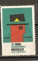 Belgique 1963 - 36ème Foire  Internationale De Bruxelles - Erinnophilie