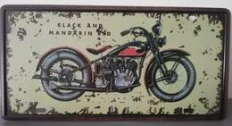Rare Plaque Tôle HARLEY DAVIDSON BLACK MANDARIN RED Style EMAIL 15X30 VINTAGE ROUTE 66 - Motos