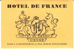 ETIQUETA DE HOTEL  - HOTEL DE FRANCE  -VIENNE - Etiquetas De Hotel