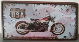 Rare Plaque Tôle HARLEY DAVIDSON ELECTRA GLIDE Style EMAIL 15X30 VINTAGE ROUTE 66 MADE IN USA - Motos