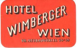 ETIQUETA DE HOTEL  - HOTEL WIMBERGER  -WIEN -AUSTRIA - Etiquetas De Hotel