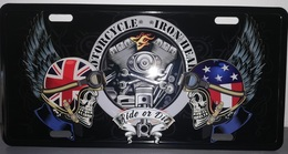 Rare Plaque Tôle HARLEY MOTORCYCLE IRON HEAD Style EMAIL 15X30 VINTAGE ROUTE 66 USA - Motos