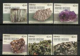MEXIQUE. Minéraux Mexicains (Amiante, Fluorite, Améthyste Quartz, Silicate, Phosphate)  6 T-p Neufs ** Bord De Feuille - Minerals