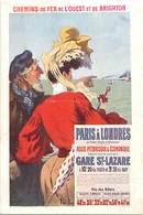 -ref-B114- Royaume Uni - Angleterre - Chemins De Fer De L Ouest Et De Brighton - Illustrateur René Péan - Illustrateurs - Angleterre