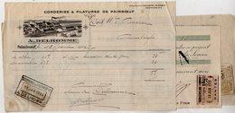 VP14.108 - Facture - Corderies & Filatures De PAIMBOEUF A. DELHOMME  & 3 Lettres De Change NANTES - Francia