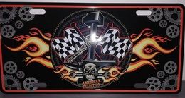 Rare Plaque Tôle HARLEY AMERICAN TRADITION Style EMAIL 15X30 VINTAGE ROUTE 66 USA Marteau - Motos