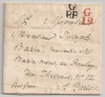 PARIS PETITE POSTE GP.P. G19 En ROUGE Lettre D'AUBERT De VITRY. 1820. - Storia Postale