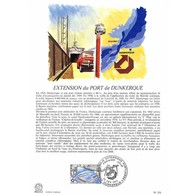 Encart Sur Papier Glacé - Extension Du Port De Dunkerque - 12/02/1977 Dunkerque - Documents Of Postal Services