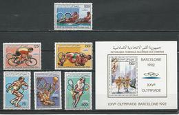 COMORES Scott 664-669 670 Yvert 464-467 PA251-PA252 BF49 (6+bloc) ** Cote 26,75 $ 1988 - Comores (1975-...)