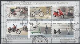 Mozambico 2009 Sc. 1821a/f Two-wheeled Transportalion Rickshaw Moto Bicicletta Scooter Segway Sheet Perf. Cto Mozambique - Mozambico