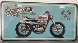 Rare Plaque Tôle MOTO RIDE AND SLIDE SCRAMBLER Style EMAIL 15X30 VINTAGE ROUTE 66 USA - Motos