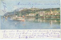 Evian-les-Bains 1901; Panorama Avec Bateau Suisse - Voyagé. (Collection Source De La Cachat) - Evian-les-Bains