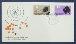 1971 FDC, Opening Of Satellite Earth Station, Philatelic Bureau Wellington, New Zealand - FDC