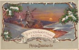 FROHLICHE WEIHNACHTEN. CIRCULEE 1909 NURNBERG A FRAY BENTOS(URUGUAY) VIA MONTEVIDEO- BLEUP - Kerstmis