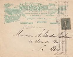 LETTRE. COVER. FRANCE. 1919. PHOTO CHROMO GRAVURE LYON TO LE PUY. RARE CANCEL    /  4 - Briefmarken
