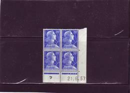 N°1011B -20F REPUBLIQUE DE MULLER - C De C+D - 1° Tirage Du 14.6 Au 30.7.57 - 21.06.1957 - - Coins Datés