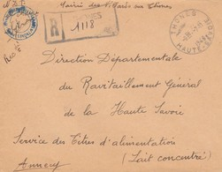 LETTRE. COVER. FRANCE. 1946. FRANCHISE. PROVISORY REGISTERED THONES HAUTE-SAVOIE TO ANNECY   /  4 - Ohne Zuordnung