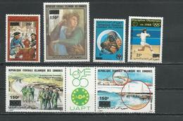 COMORES Scott 702, 704, C202, C203, C207-C208 Yvert 503 504 PA277, PA278, PA282-PA283 (6) ** Cote 6,00 $ 1989 SURCHARGES - Comores (1975-...)