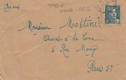LETTRE. COVER. FRANCE. 1945. PAR AVION. PALAVAS HERAULT TO PARIS. TARIF     /  4 - Ohne Zuordnung