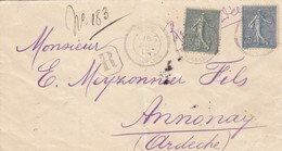 LETTRE. COVER. FRANCE. 1905. FRENCH COLONY. REGISTERED PRIVISORY. CLEMENTE TAYAR TRIPOLI BARBARIE TO ANNONAY FRANCE /  4 - Non Classés