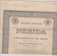 BELGIE , CORPHALIE PRES DE HUY  ~  OBLIGATION, SHARE, ACTION    --   NEBIDA  ~   EXPLOITATION DE MINES - Mines