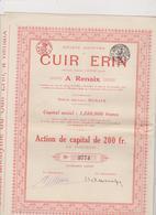 BELGIE , RENAIX  ~  OBLIGATION, SHARE, ACTION    --   CUIR ERIN  ~   TANNERIE   ~  No.  3779 - Industrie