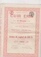 BELGIE , RENAIX  ~  OBLIGATION, SHARE, ACTION    --   CUIR ERIN  ~   TANNERIE   ~  No.  3785 - Industrie