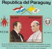 PAPA POPE PAULO VI ALFREDO STROESSNER, VISITA AL PARAGUAY AÑO 1973 BLOQUE BLOC N°01236- RARE-TBE- BLEUP - Popes