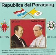 PAPA POPE PAULO VI ALFREDO STROESSNER, VISITA AL PARAGUAY AÑO 1973 BLOQUE BLOC N°00038- RARE-TBE- BLEUP - Popes