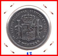 ESPAÑA MONEDA DE (( AMADEO I REY DE ESPAÑA MONEDA DE PLATA )) 5 PESETAS ( EL DURO ) AÑO 1871 * 73 - Primeras Acuñaciones