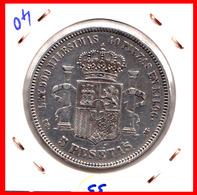 ESPAÑA MONEDA DE (( AMADEO I REY DE ESPAÑA MONEDA DE PLATA )) 5 PESETAS ( EL DURO ) AÑO 1871 * 71 - Primeras Acuñaciones