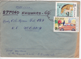 Pologne To Moldova , 1988 , Horses , Auto , Used Cover - 1944-.... Republic