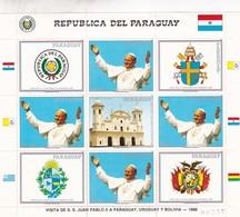 VISITA DE SS PAULO VI A PARAGUAY, URUGUAY Y BOLIVIA, 1988. STAMP BLOCK. REPUBLICA DEL PARAGUAY-RARE-TBE - BLEUP - Popes