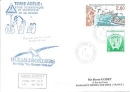 TAAF - Dumont D'Urville-T.Adélie: Lettre Avec Timbres N°184 Armoiries Et N°233 Contrôleur Des Pêches - 02/01/2001 - Covers & Documents