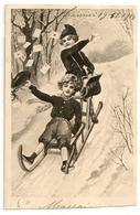 Illustrateur Non Signé: Petits Facteurs Sur Une Luge, Envoyée à TOURNAI Le 19.11.1904. Carte Rare TTB. - Poste & Facteurs