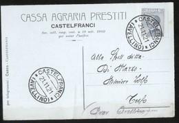 CASTELFRANCI -  AVELLINO - 1921 -  CARTOLINA  COMMERCIALE -  CASSA AGRARIA PRESTITI - Banche