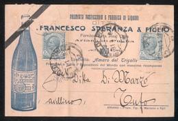ARIANO IRPINO - AVELLINO -  1918 -  CARTOLINA  COMMERCIALE - DITTA SPERANZA - PASTICCERIA E LIQUORI - Negozi