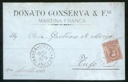 MARTINA FRANCA - TARANTO -  1900 -  CARTOLINA  COMMERCIALE - DITTA CONSERVA DONATO - Negozi