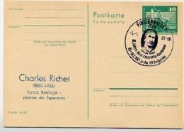 Esperanto RICHET DDR P79-1-81 C137 Postkarte PRIVATER ZUDRUCK Finsterwalde Sost. 1981 - Esperanto