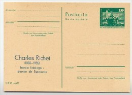 DDR P79-1-81 C137 Postkarte PRIVATER ZUDRUCK Esperanto RICHET Finsterwalde 1981 - Esperanto