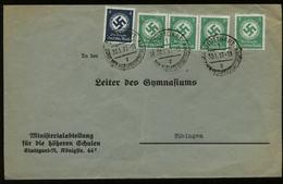 3. Reich - DR Dienstpost Briefumschlag , Schule: Gebraucht Stuttgart - Tübingen 1937 , Bedarfserhaltung. - Allemagne
