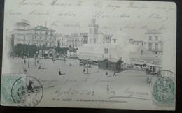 L) 1903 ALGELIA, 5C, GREEN, POSTES, ARCHITECTURE, STATUE, HORSE, PEOPLE, LA MOSQUEE DE PLACE DU GOVERNMENTAL, XF - Algeria (1962-...)